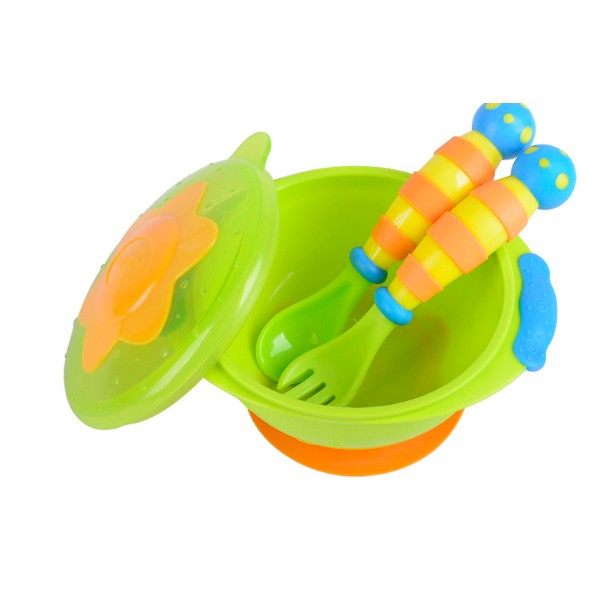 Nuby Wacky Ware Combo Set- PP Suction Bowl & Fork And Spoon With Handle Grips