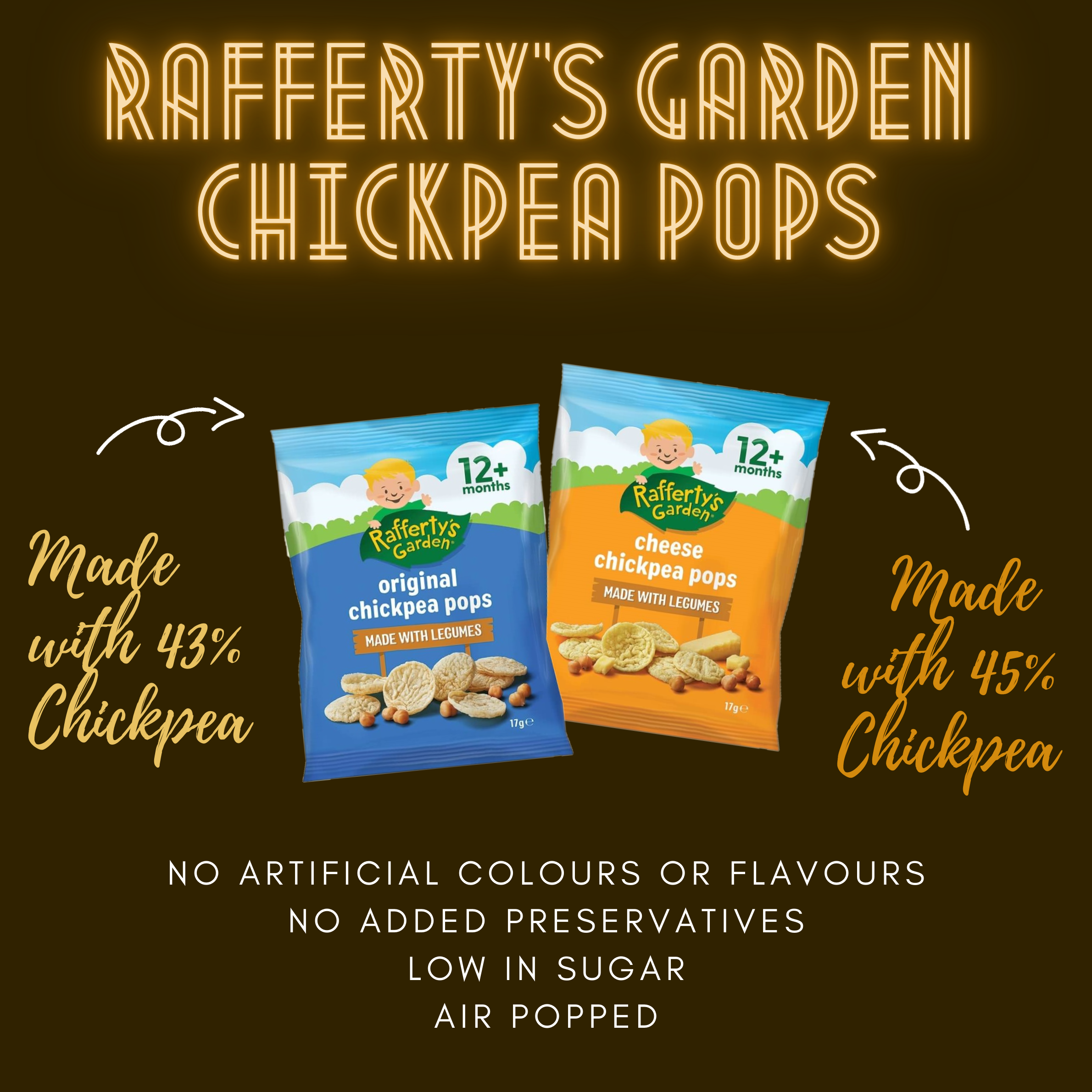Rafferty's Garden Chickpea Pops 17g For 12 Months And Above