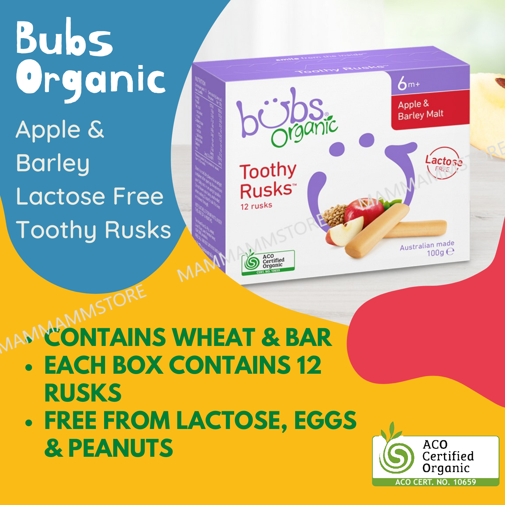 Bubs Organic Apple & Barley Lactose Free Toothy Rusks 100g For 6 Months And Above