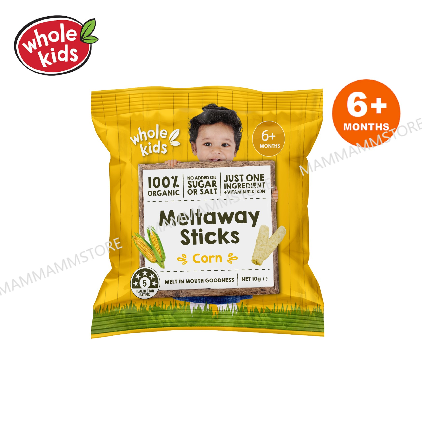 Whole Kids Organic Meltaway Sticks Corn 10g For 6 Months And Above